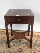 A Georgian square top, single drawer side table with a four arm stretcher to the base
