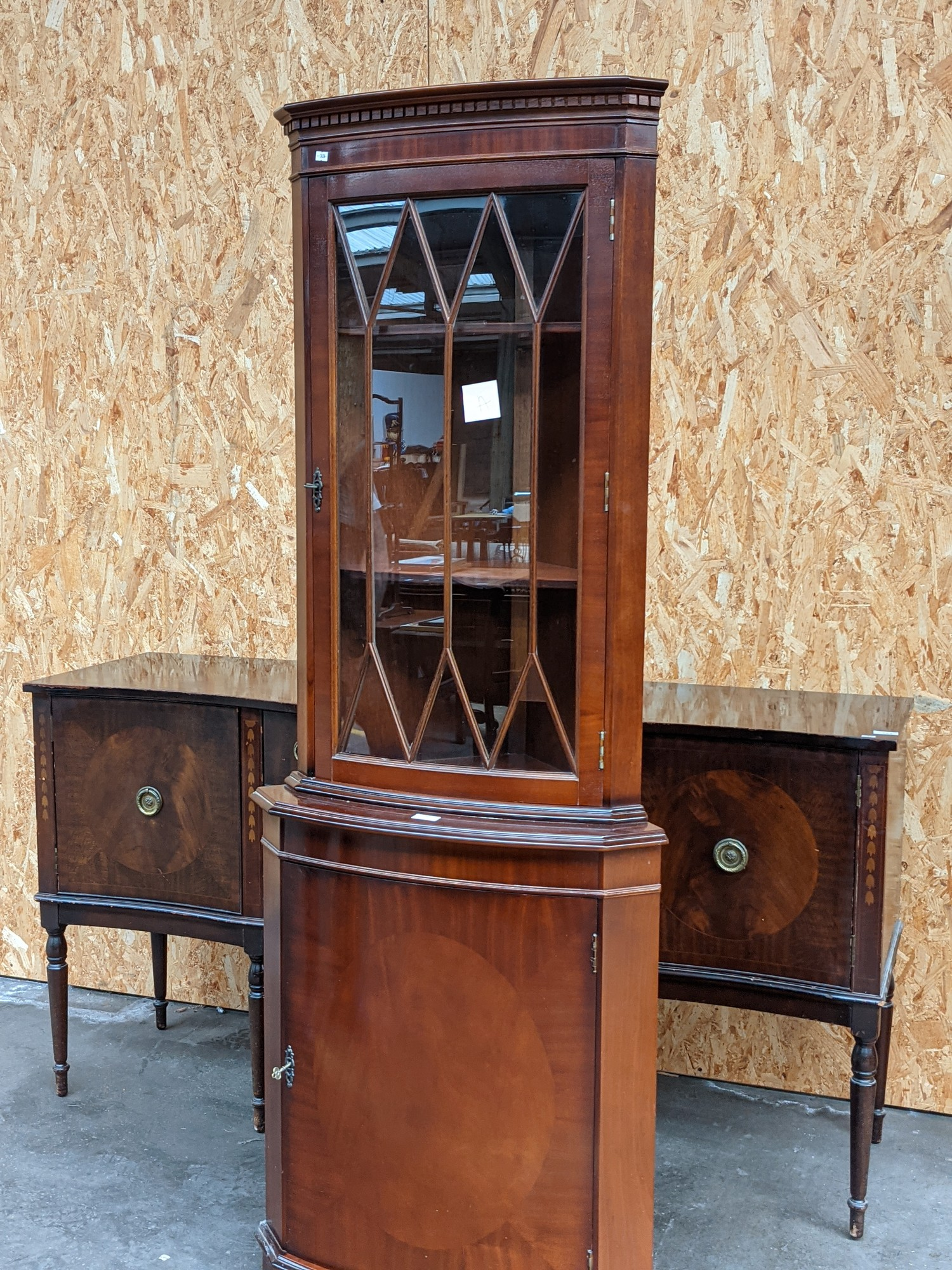 A dark wood corner display cabinet [height, 1.82m] - Image 2 of 2