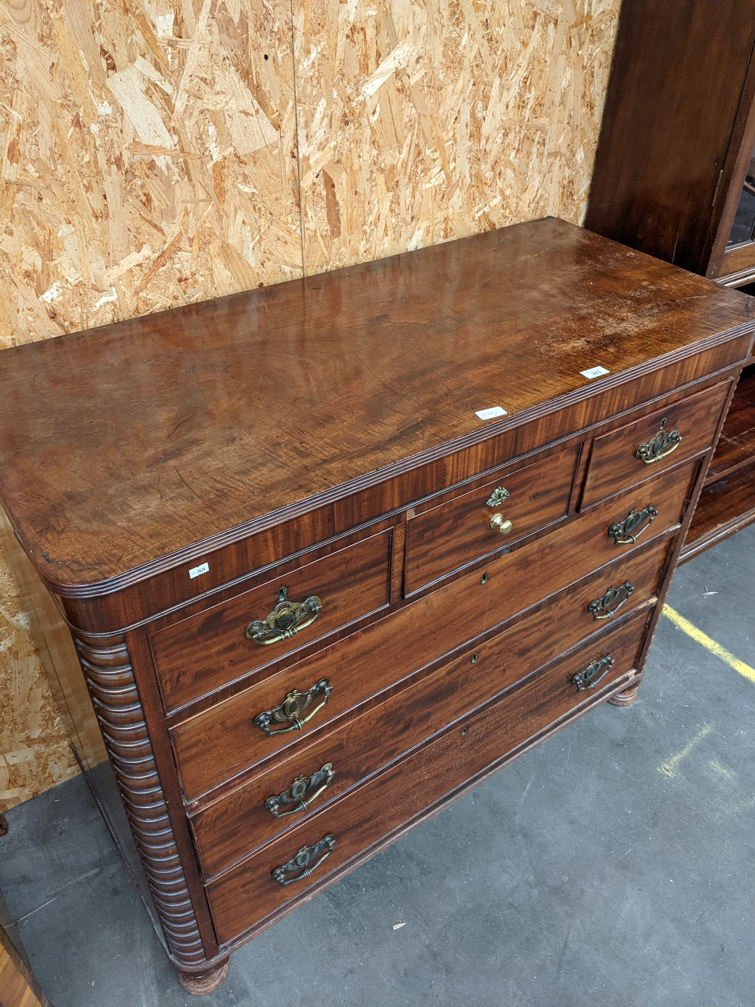 A Scottish Georgian chest of drawers flanked by bobble sides, upon 4 disc feet [height, 1m, width, - Image 4 of 4