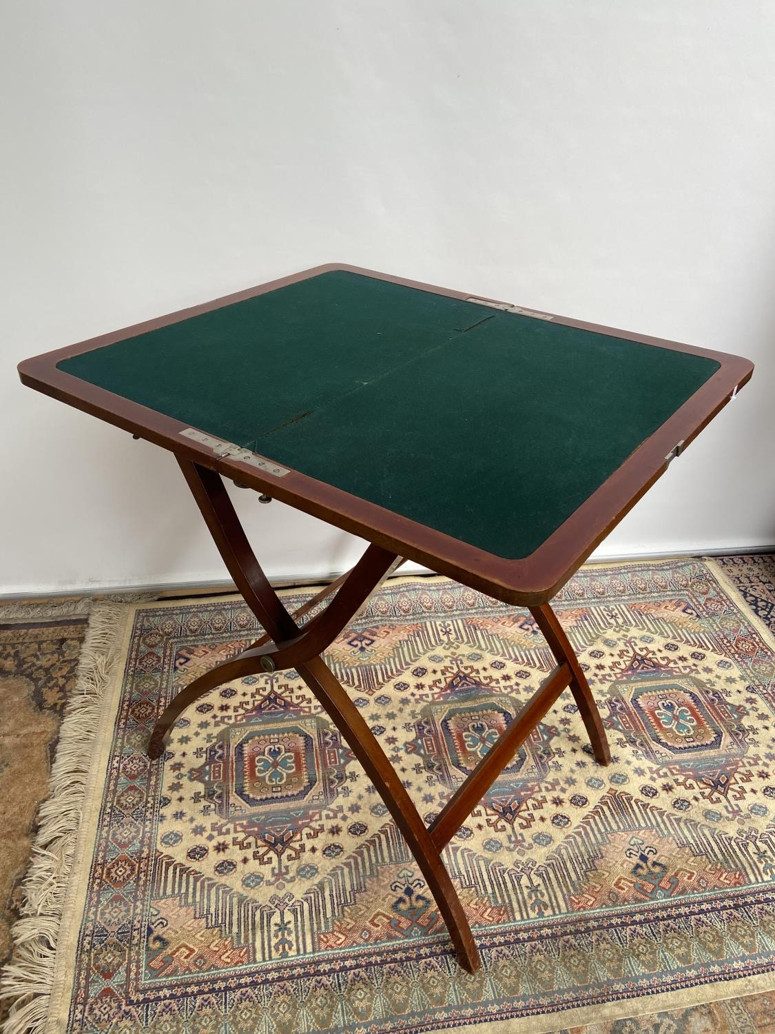 Antique Nawson Swan & Morgan folding card table/ writing table. [64cm in height, 75cm wide]