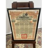 Antique Chinese Government bond, styled in red printing. Dated 1913. [frame 48x35cm]