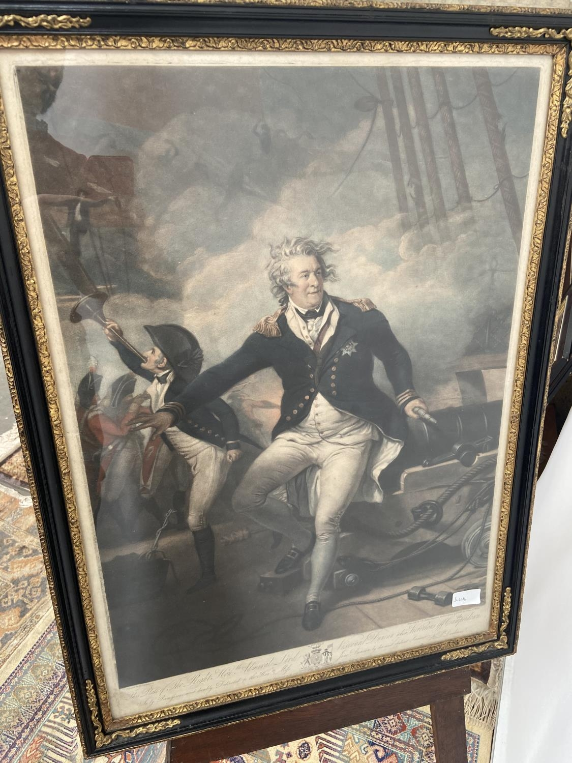 An early 19th century coloured engraving depicting Admiral Lord Viscount Duncan, fitted within a