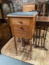 An Antique marble top pedestal cabinet. Has a marble interior shelf. [88cm in height]