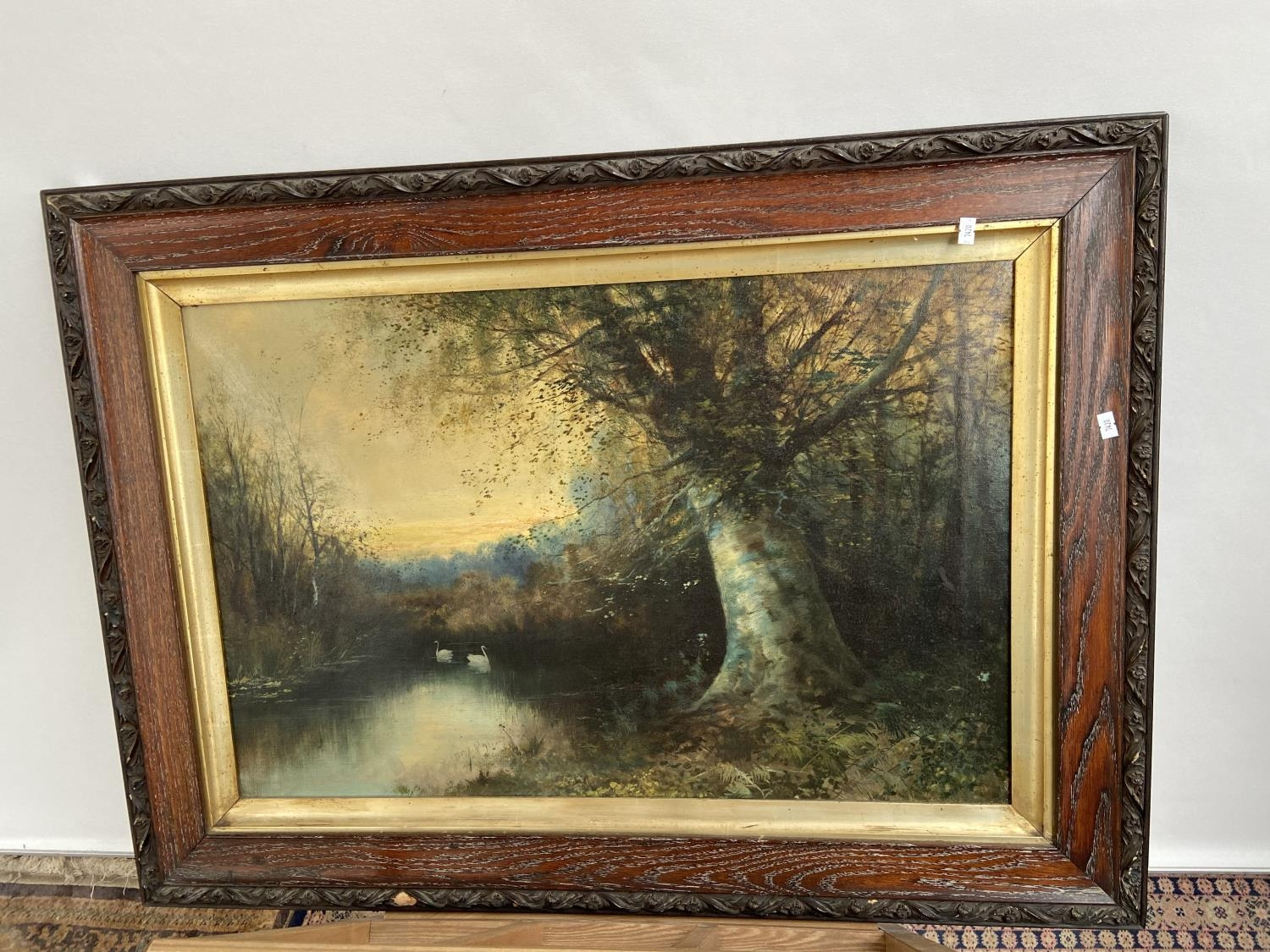 A 19th century oil painting on canvas depicting lake and forestry area scene. Fitted in a dark oak - Image 2 of 3