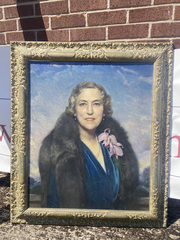 David Jagger R.O.I. (British, 1891-1958) Large oil painting on canvas portrait of lady Mrs Edgar