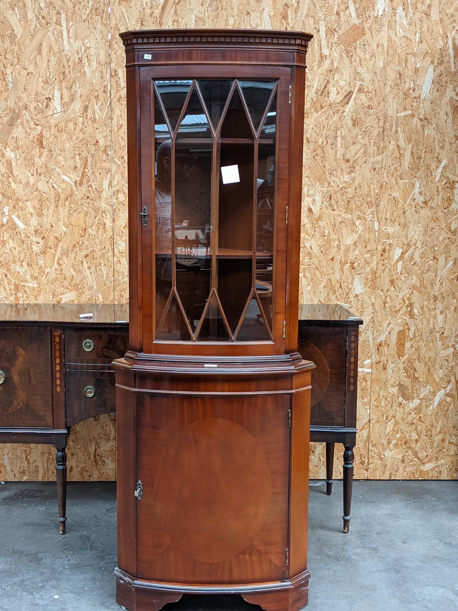 A dark wood corner display cabinet [height, 1.82m]