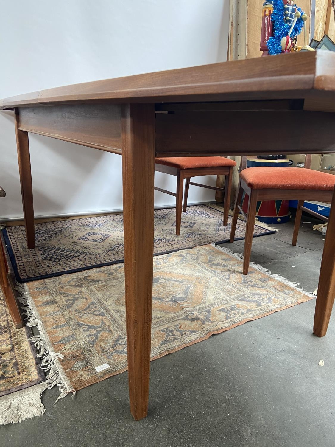 A Retro mid century teak dining table and four matching chairs produced by Vanson. [Table extended - Image 12 of 13