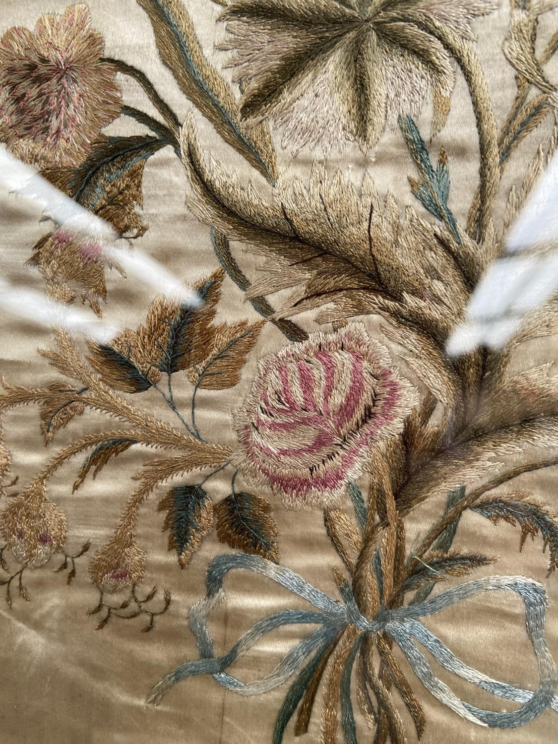 A 19th century silk tapestry depicting a bouquet of flowers, fitted within a gilt frame [height, - Image 2 of 2