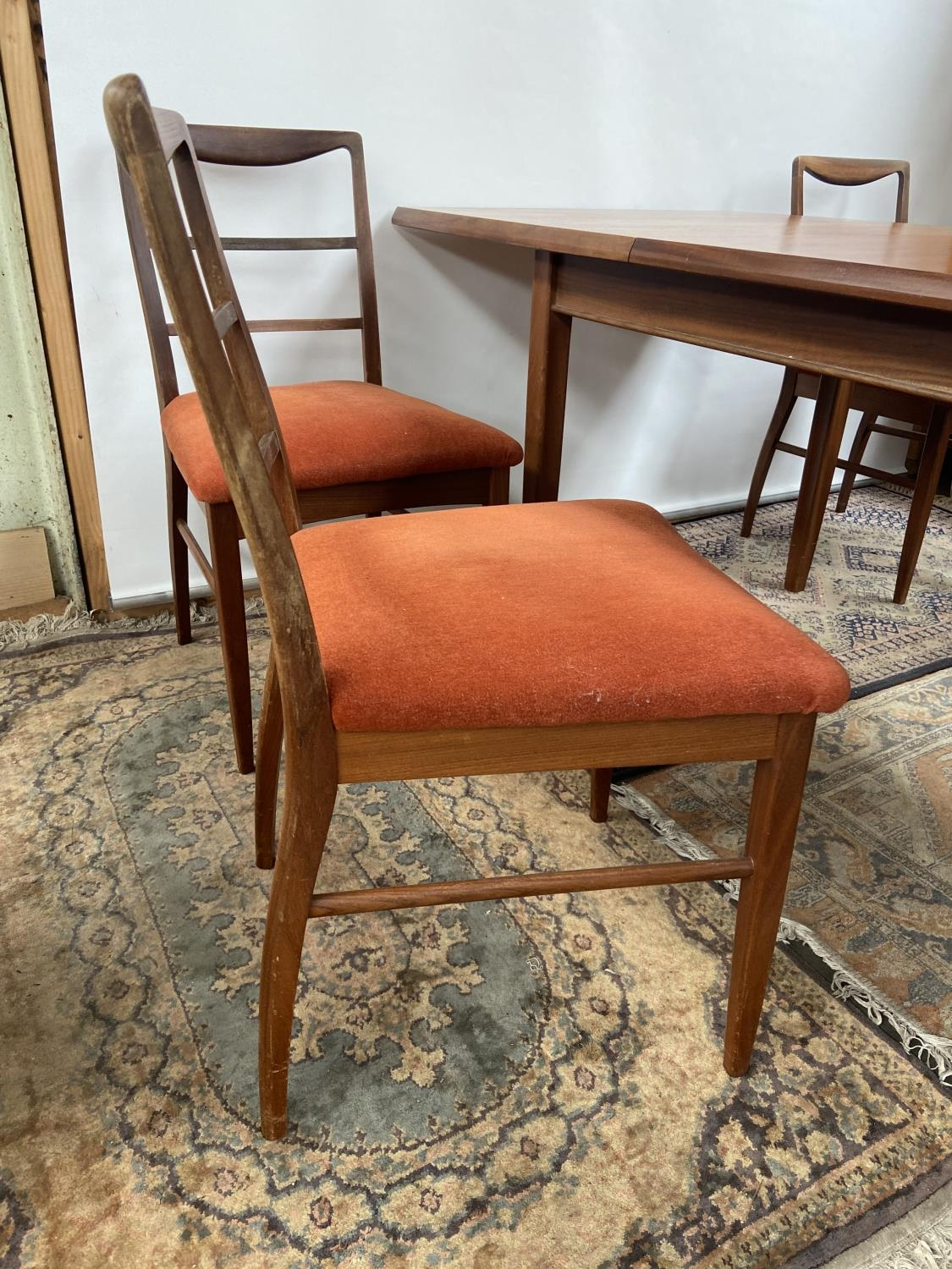 A Retro mid century teak dining table and four matching chairs produced by Vanson. [Table extended - Image 4 of 13
