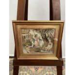 A 19th century tapestry depicting a lady rowing a boat, [height, 29cm, width, 33cm]