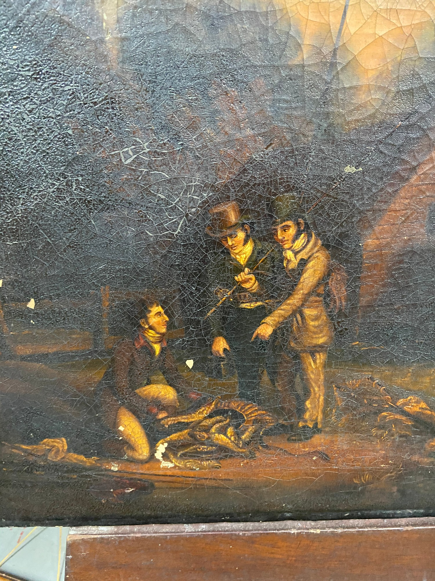 An 18th/ 19th century oil painting on canvas depicting three gentleman discussing their catch. [44. - Image 2 of 5