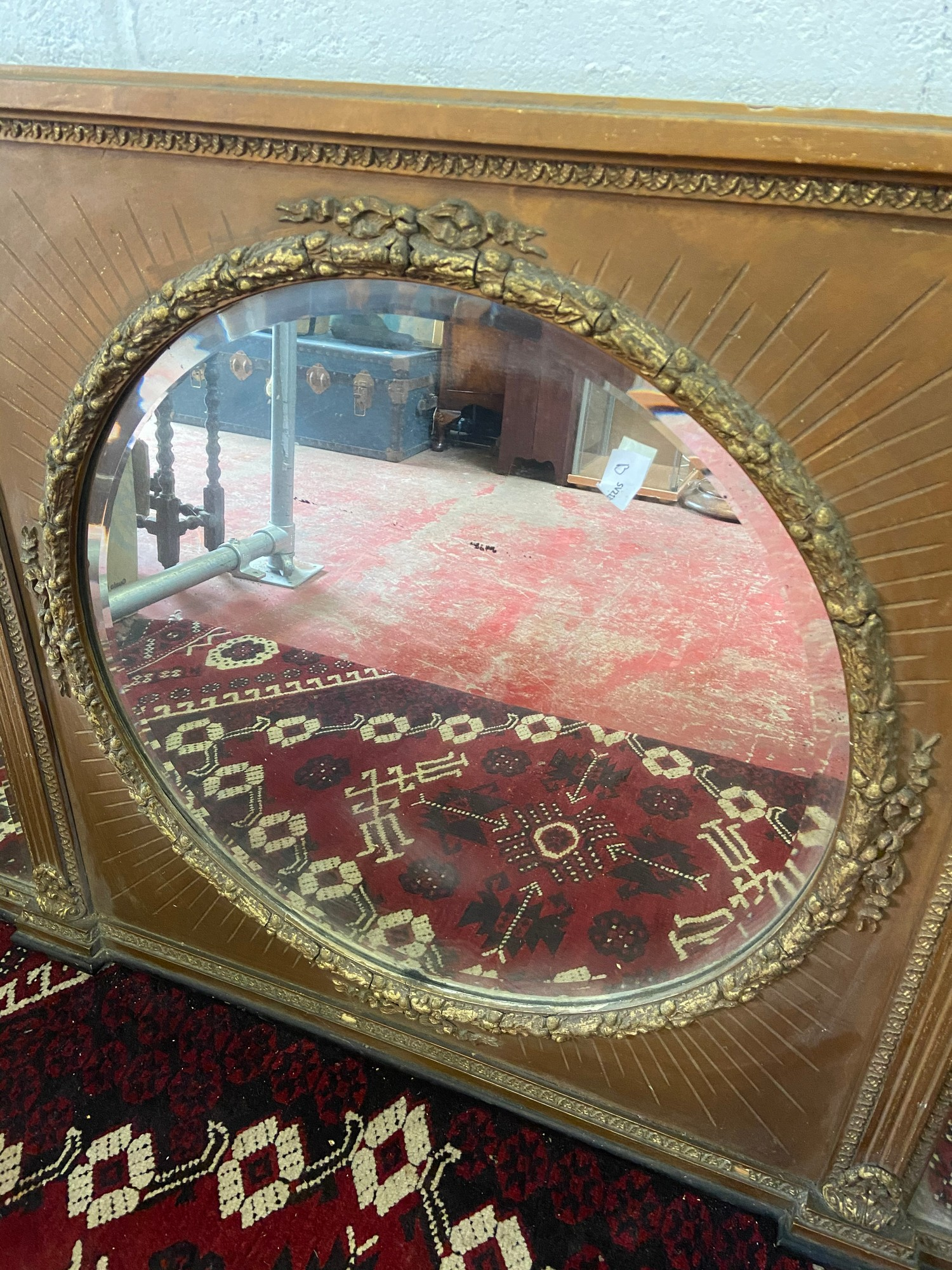 A Large 18th/ Early 19th century gilt painted and moulded wreath over mantle mirror. Triple - Image 3 of 4