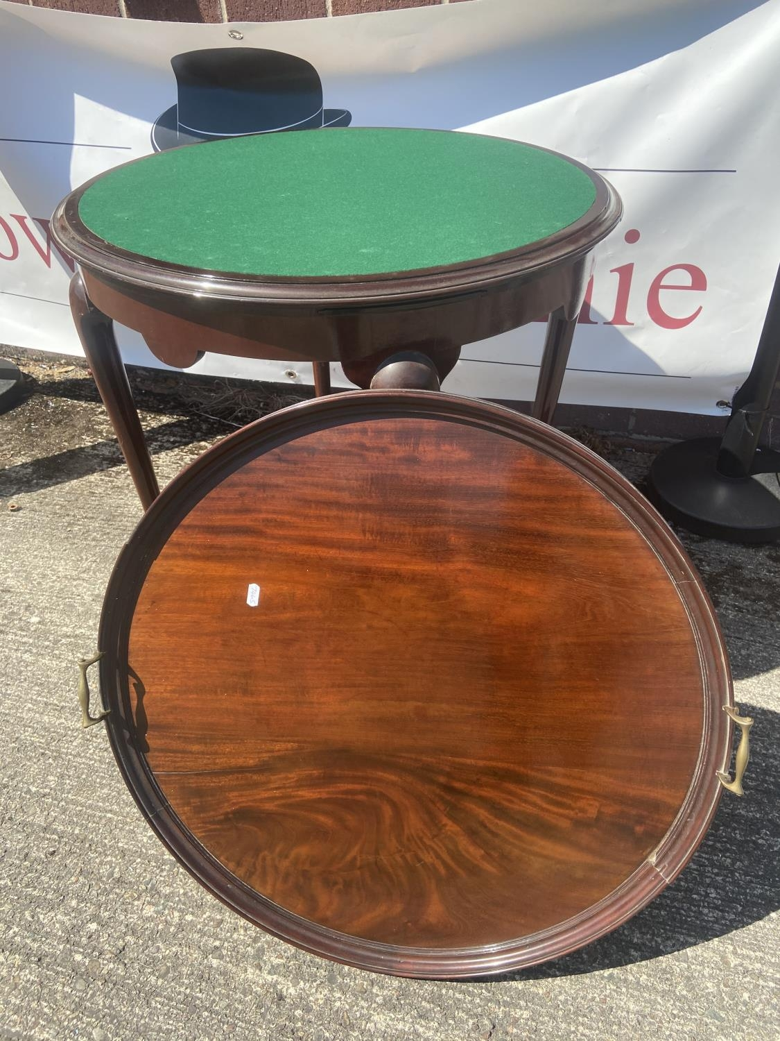 Antique card table/serving table [75x67cm] - Image 2 of 4