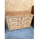 A French style lightwood chest of drawers [height, 76cm, width, 1.02m, depth 55cm]