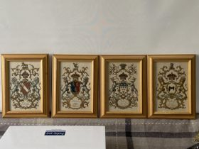 A Lot of four antique hand coloured prints of Earls Insignias/ family crests. Includes Clinton