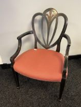 19th century chair, with curved open arms, fan design back support with centre foliate inlay,