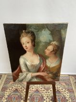 An 18th/19th century oil painting on canvas depicting two ladies posing [74x61cm]