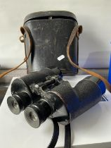A set of Canadian WW2 R.E.L [7x50] binoculars with carry case & attachable yellow lens