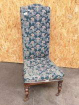 Oak prayer chair in a thistle upholstery [height 104cm, width 48cm]