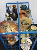A Trolley containing a collection of porcelain wares to include Bretby art deco vase, Austrian