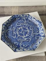 An antique Chinese Blue & Pale blue glazed bird design octagonal drip bowl. Showing character