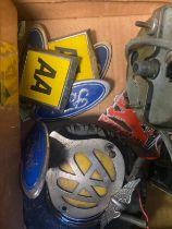 A Box of vintage car badges, clocks and gauges. Includes Smiths MPH Gauge, Sabre Amperes gauge and