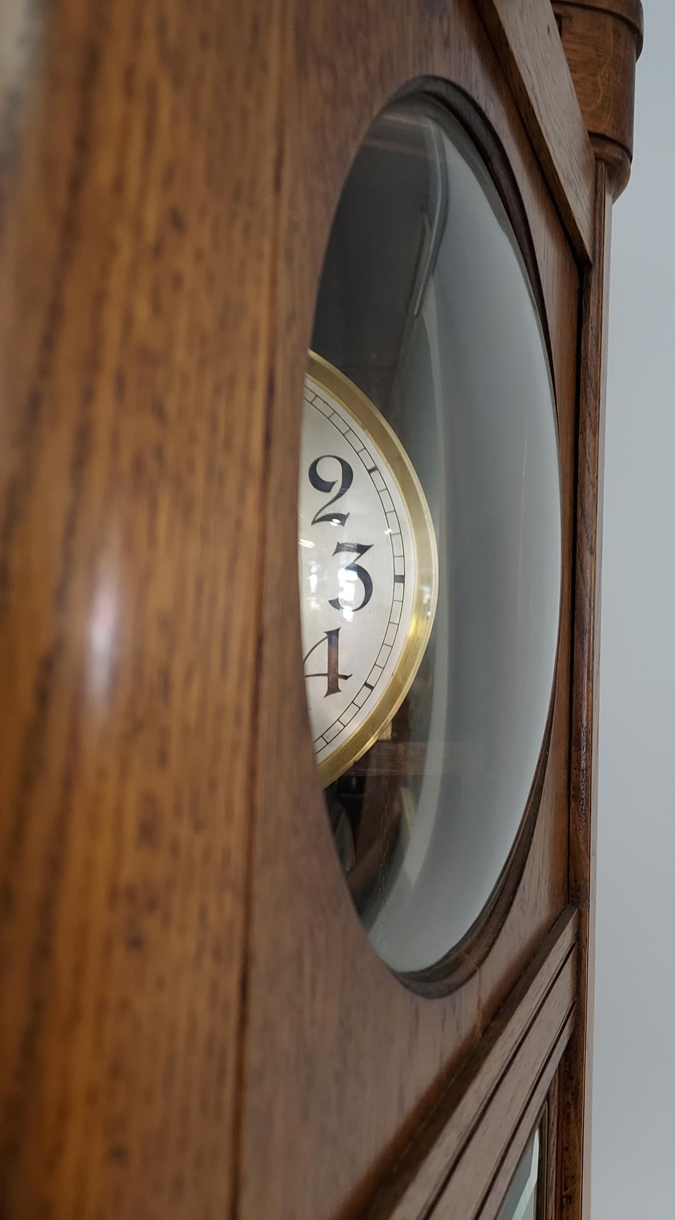An oak cased Grandfather clock, with hand carved foliage design to the upper section, silver and - Image 4 of 7