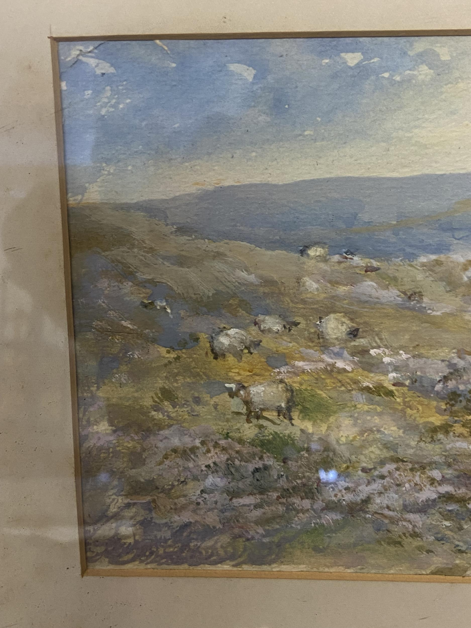 Antique original watercolour depicting sheep in a valley scene. Signed by the artist [Unreadable] [ - Image 3 of 6