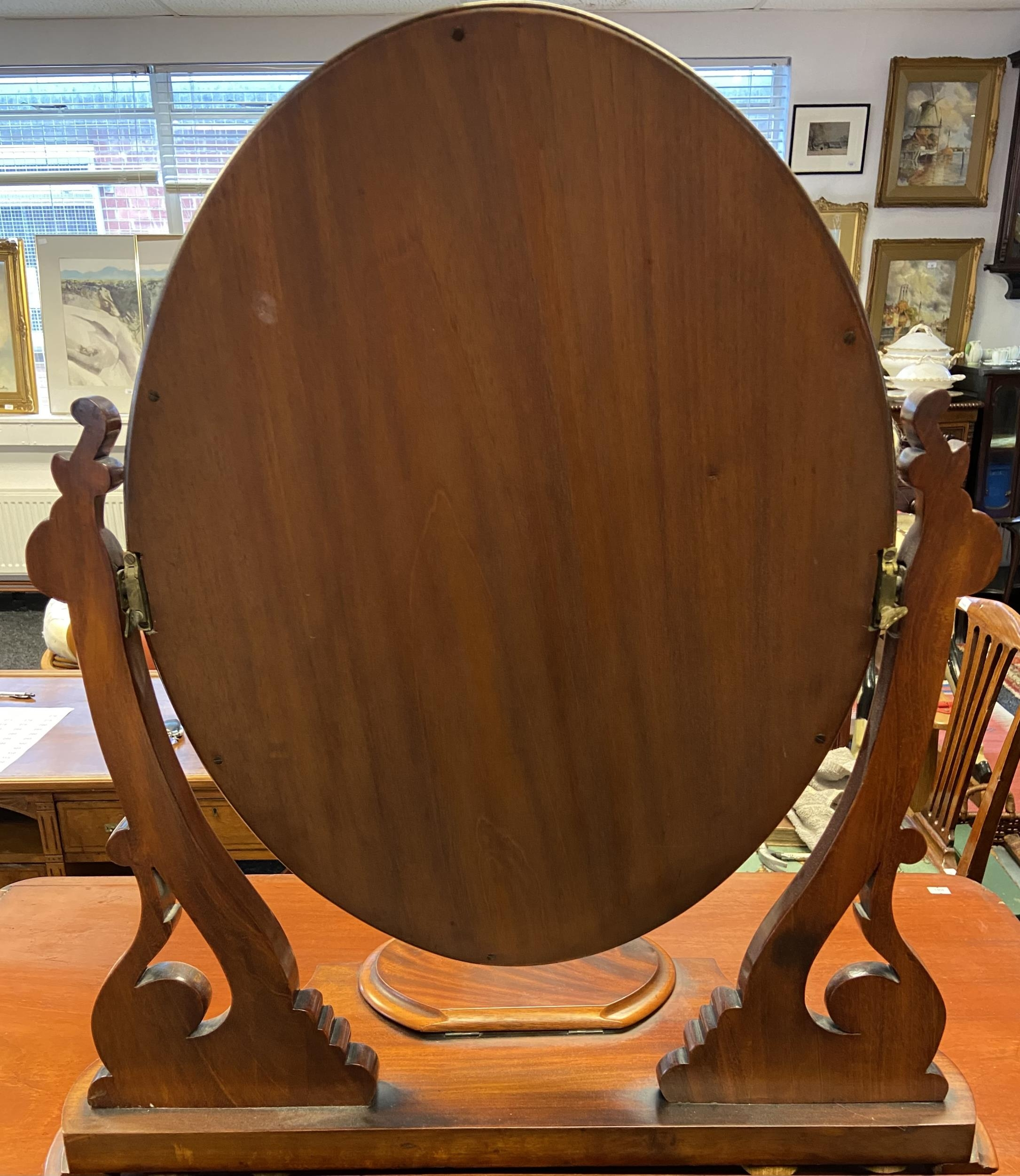 An 19th century Ornate table top dressing mirror. Has lift top compartment to the front. [ - Image 3 of 3