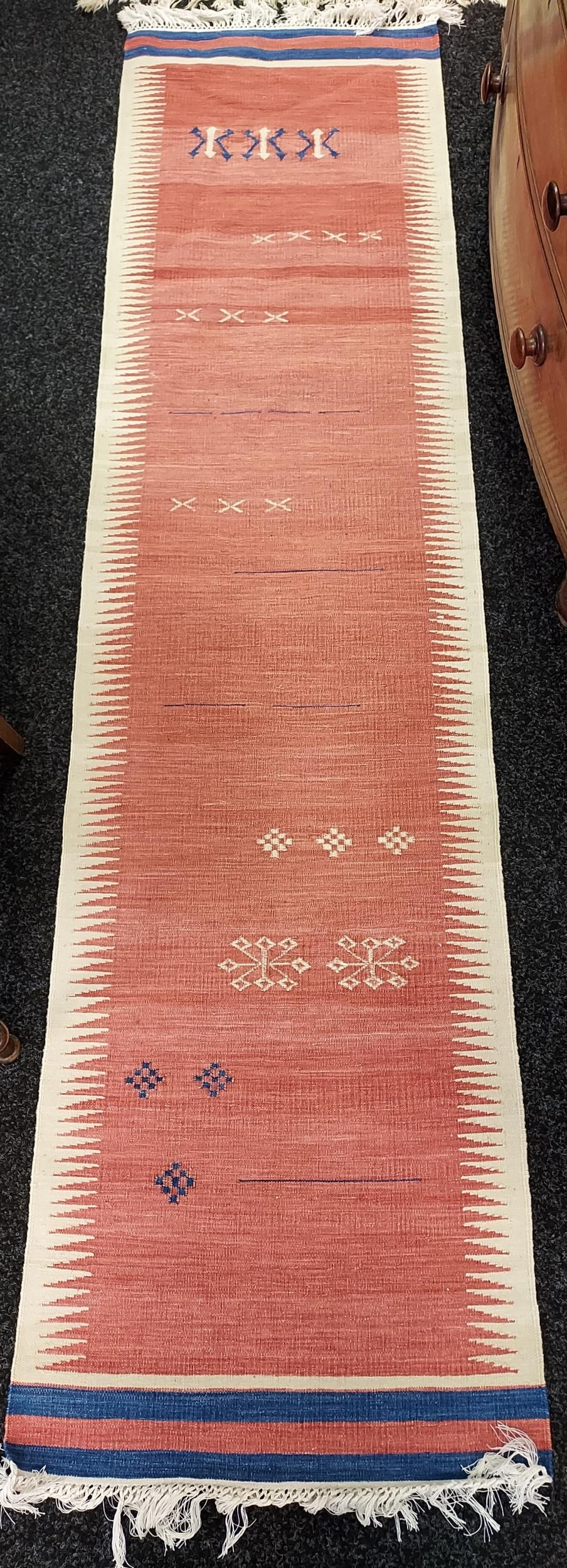 Flatwoven Indian rug by Jagdish Bangaa for Nomads Tents [description attached] [254x62cm]