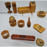 A Collection of 12 various Mauchline ware items to include napkin rings, glasses holder, egg cup,