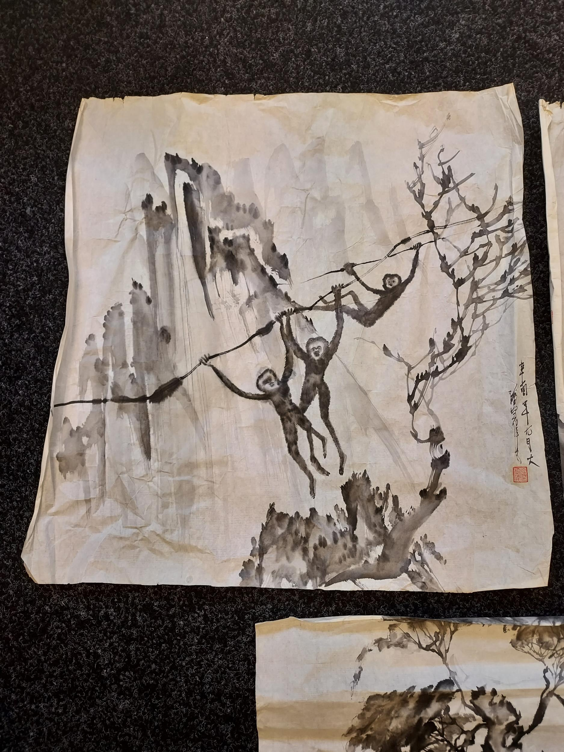 A selection of Japanese ink wash paintings depicting various monkey figures [signed by artist] - Image 4 of 4