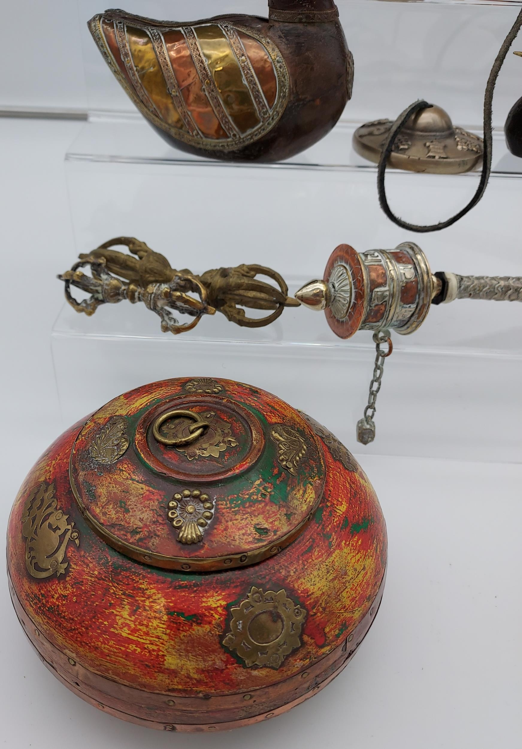 A collection of Tibetan antiques to include silver and copper teapot, prayer wheel, meditation chime - Image 5 of 6