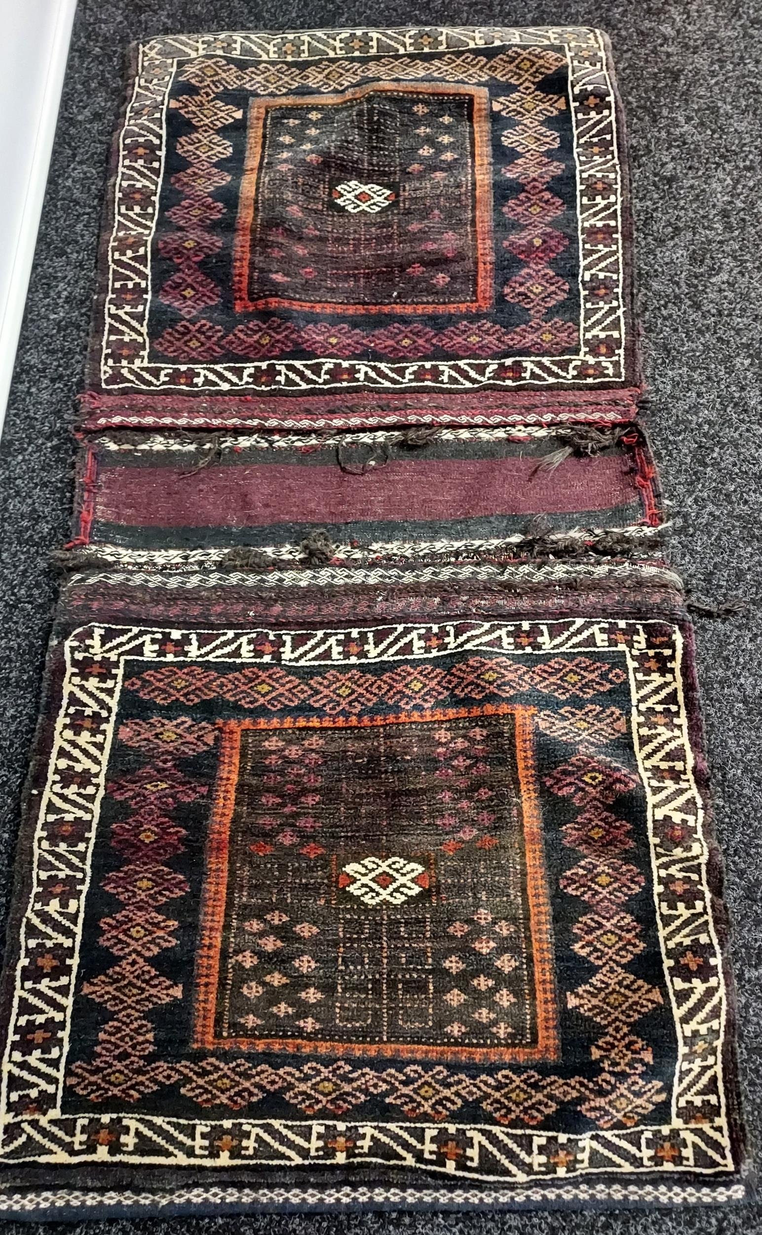 Antique Persian hand woven camel saddle bag. - Image 2 of 3