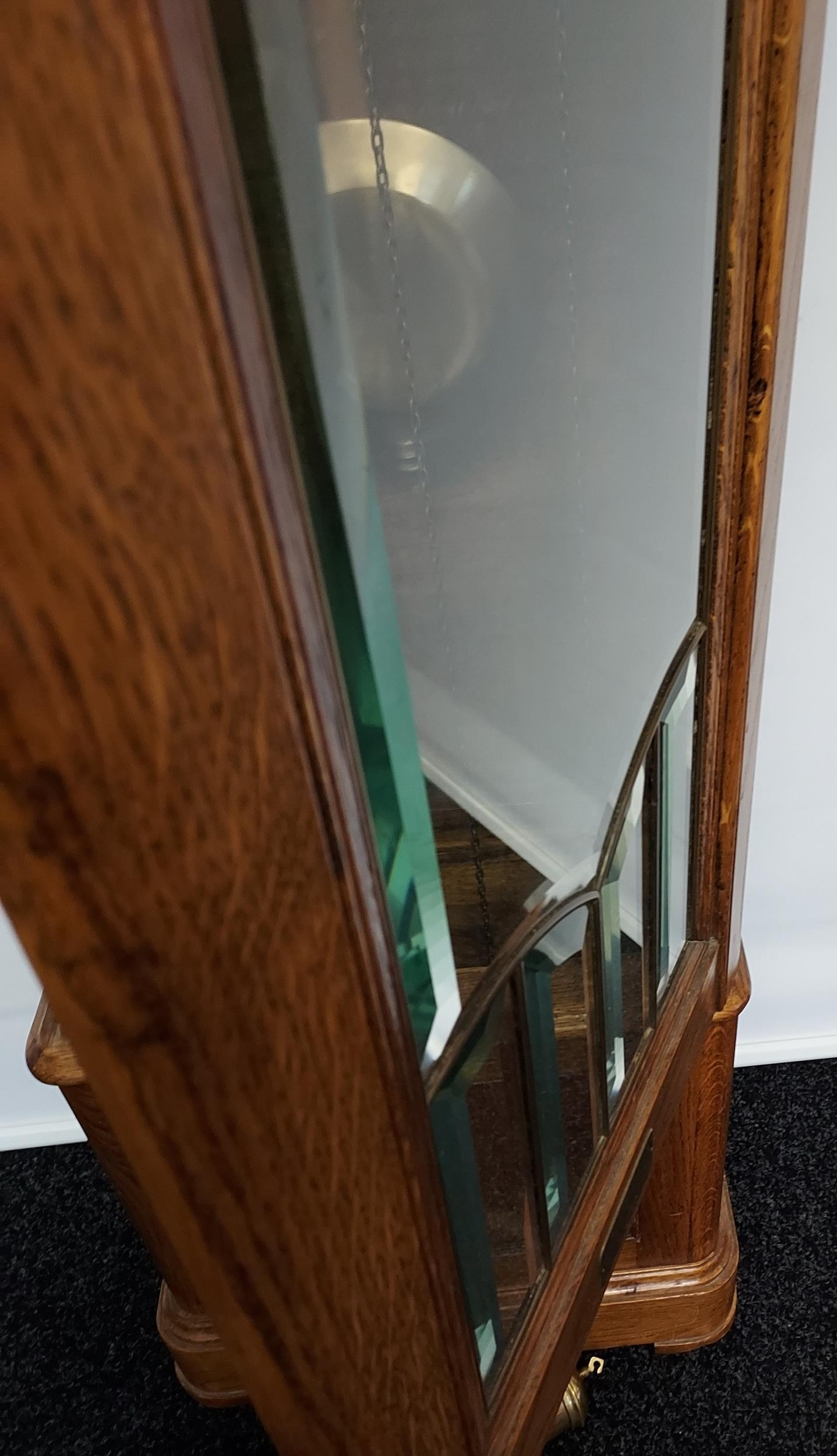 An oak cased Grandfather clock, with hand carved foliage design to the upper section, silver and - Image 5 of 7
