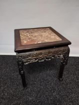 Antique Chinese hand carved side table with marble top.[48x42x42cm]