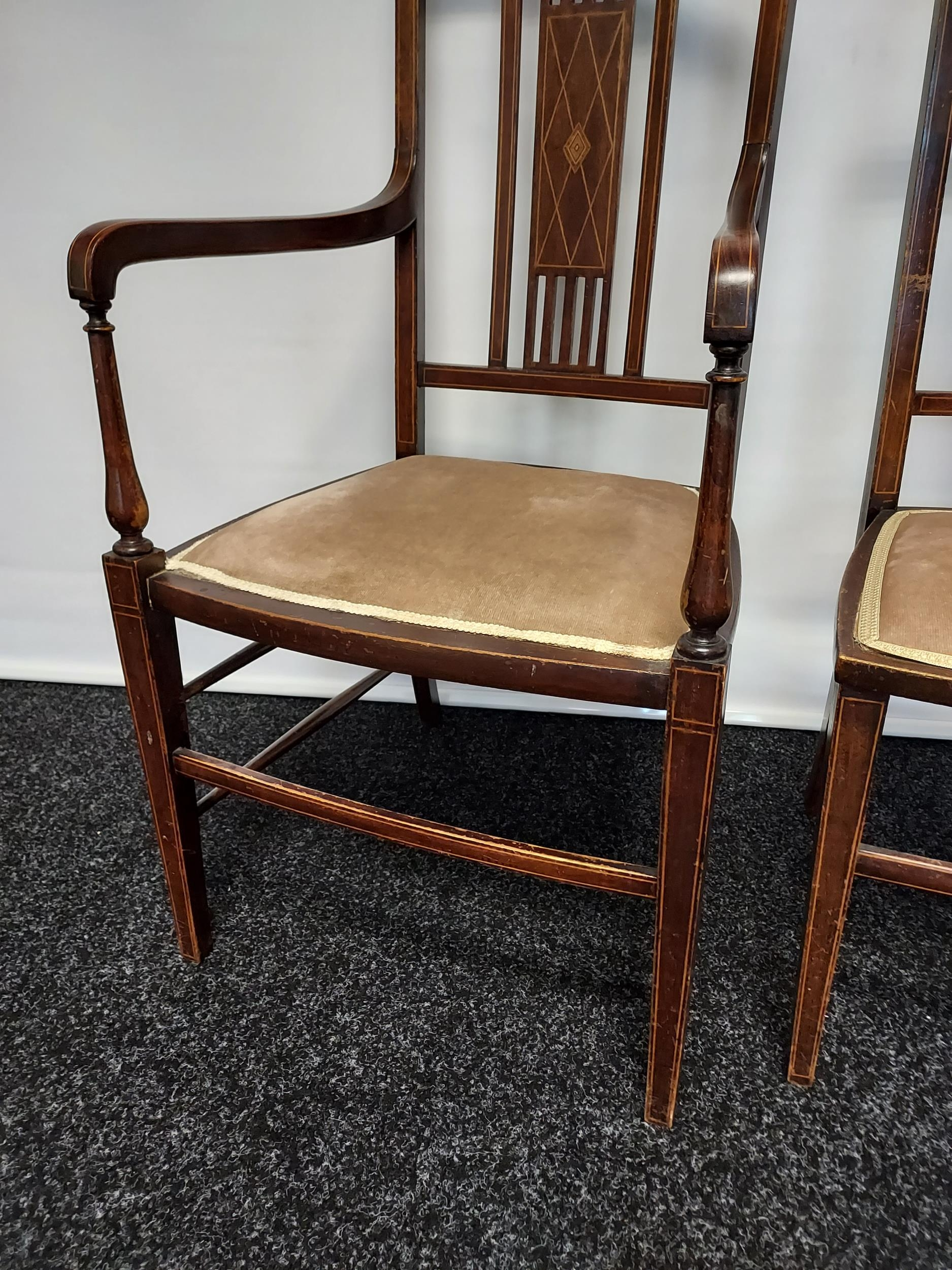 Edwardian inlaid armchair with partner chair - Image 3 of 4