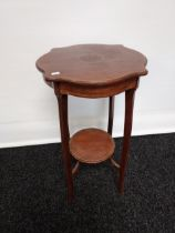 An Edwardian two tier plant stand with a single inlay trim. [64x36x36]