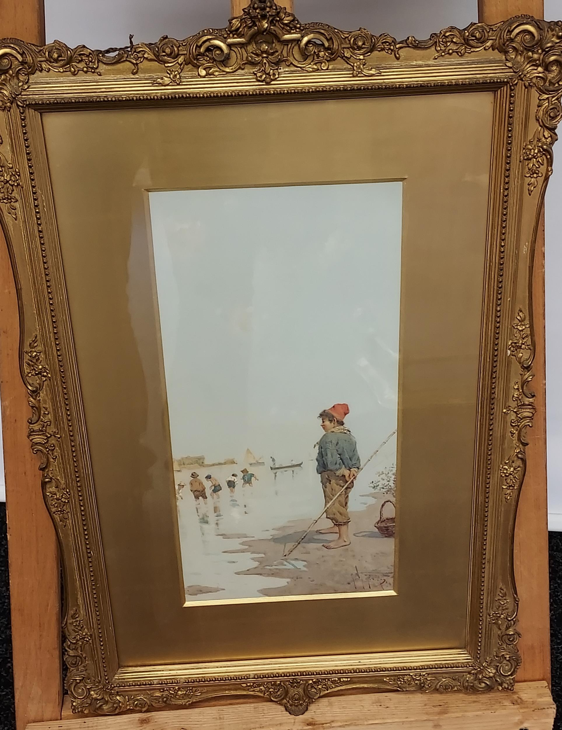 An impressive 19th century watercolour depicting gentleman fisher by the river side. Signed by the