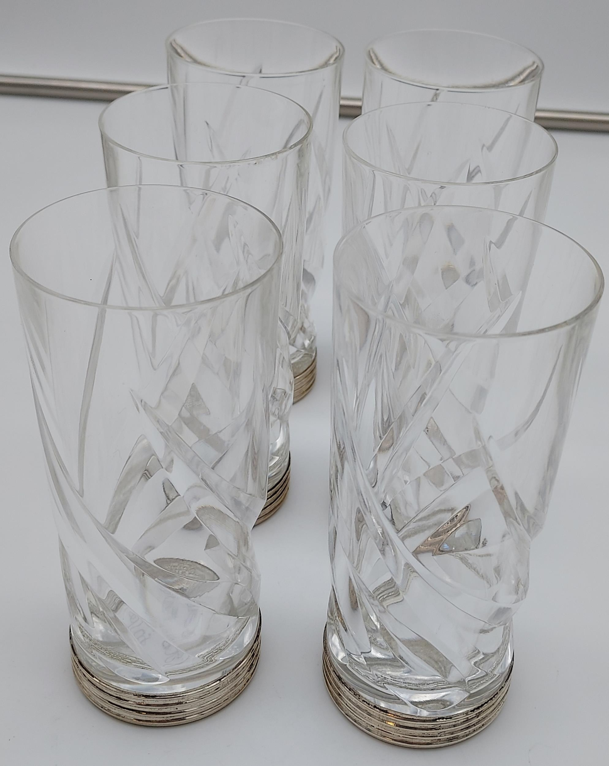 Crystal decanter with a 800 grade silver stopper, with 6 matching drinks glasses with silver - Image 6 of 8
