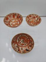 A Lot of three 19th century Japanese Kutani Tsukuru Marked bowls. Designed with various hand painted