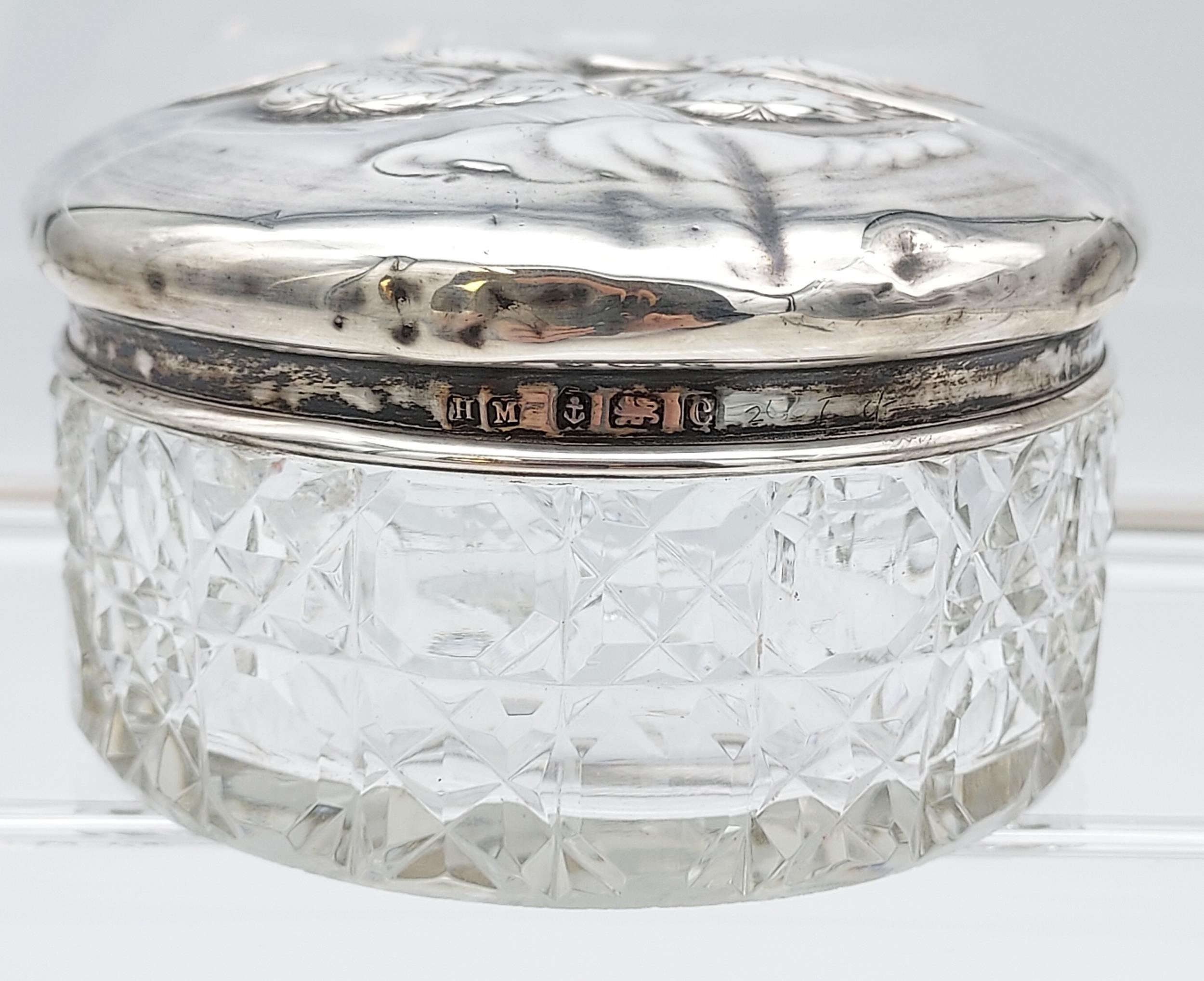 A Birmingham silver and yellow enamel topped dressing table preserve pot together with a - Image 7 of 7