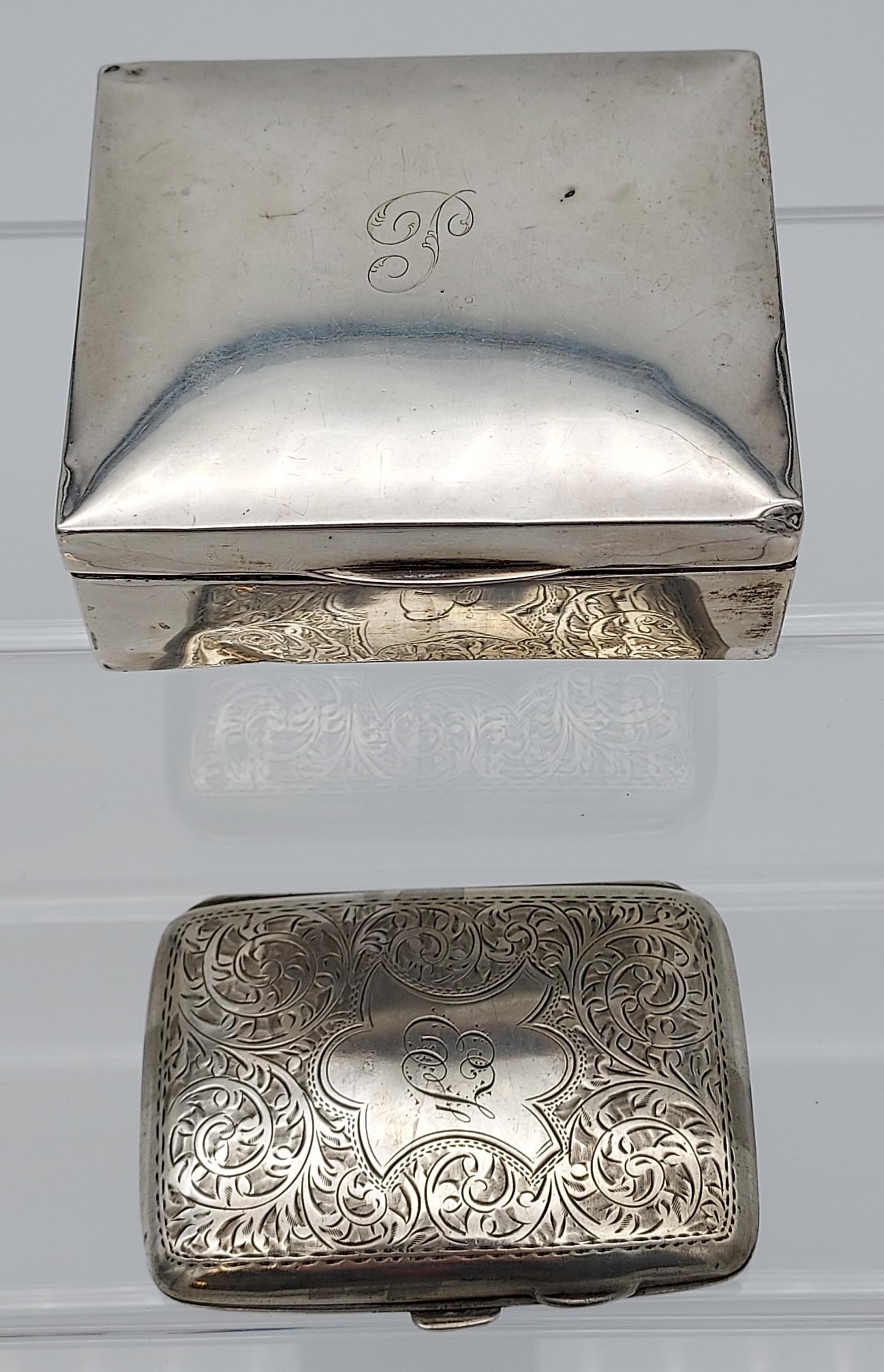 A Birmingham silver cigarette box together with a Birmingham silver cigarette case.