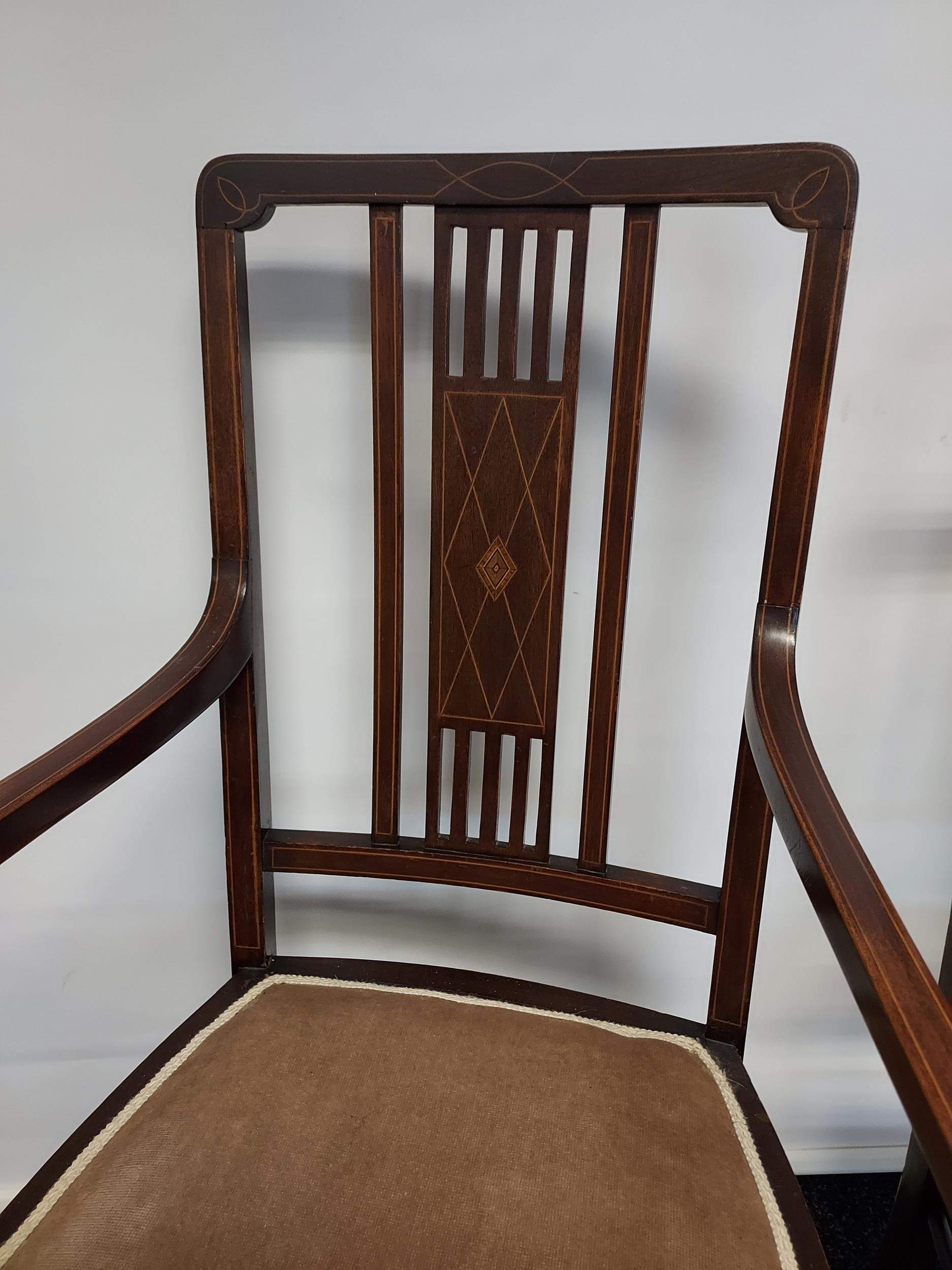 Edwardian inlaid armchair with partner chair - Image 2 of 4