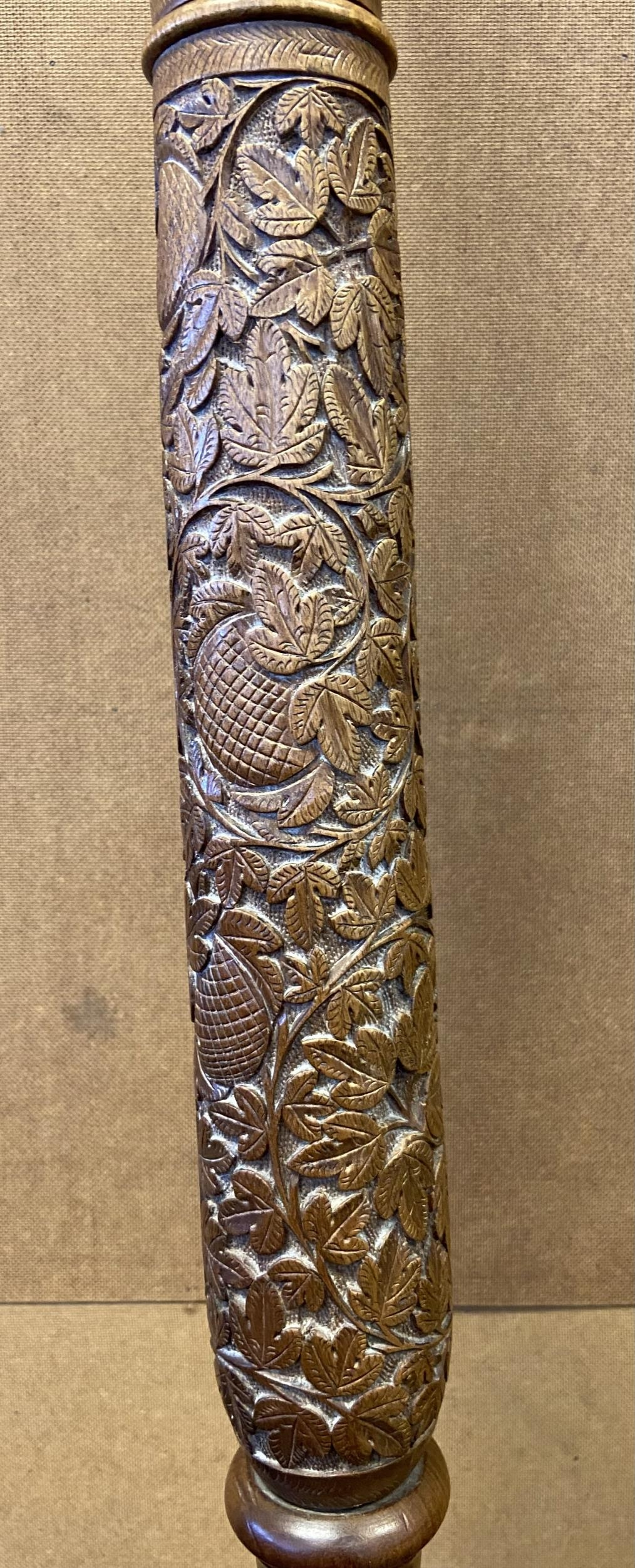 A Hand carved Indian style floor lamp. - Image 3 of 5
