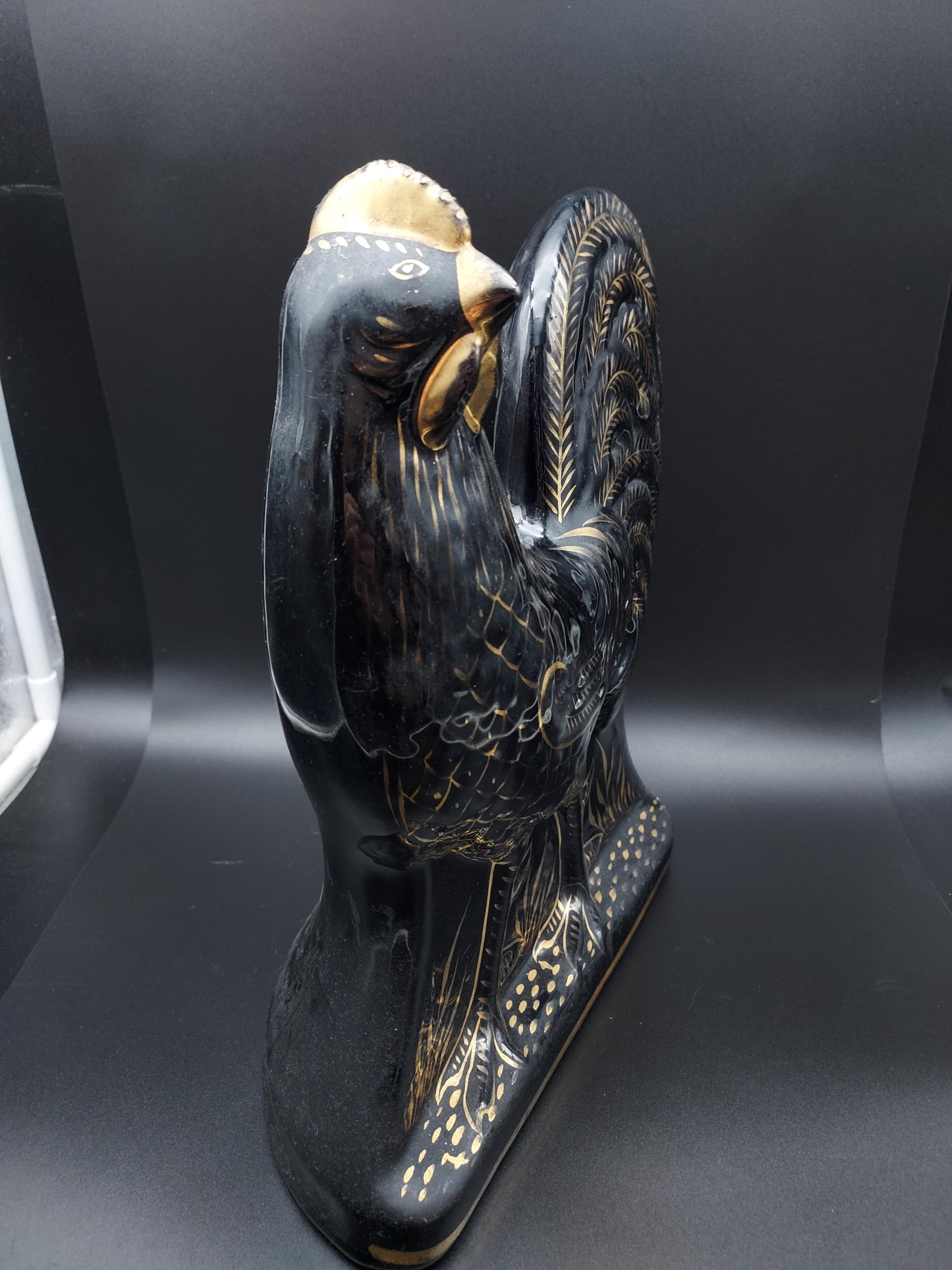 A Bo'ness pottery black lustre cockerel figurine. [31cm in height] - Image 2 of 4