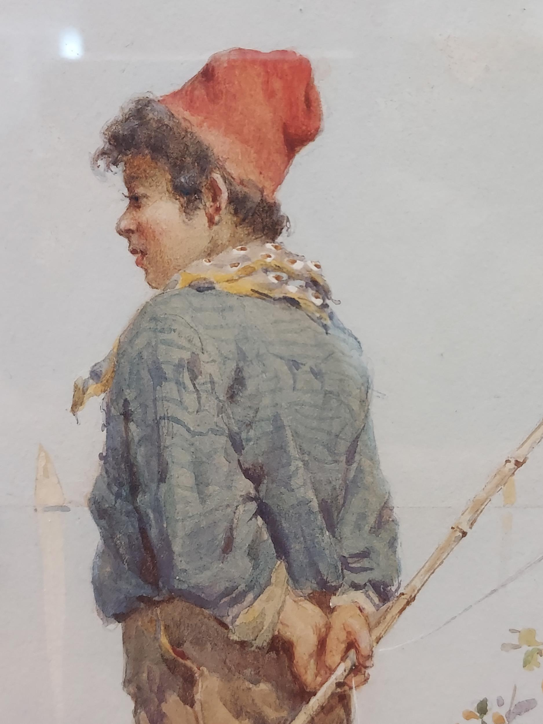 An impressive 19th century watercolour depicting gentleman fisher by the river side. Signed by the - Image 4 of 9