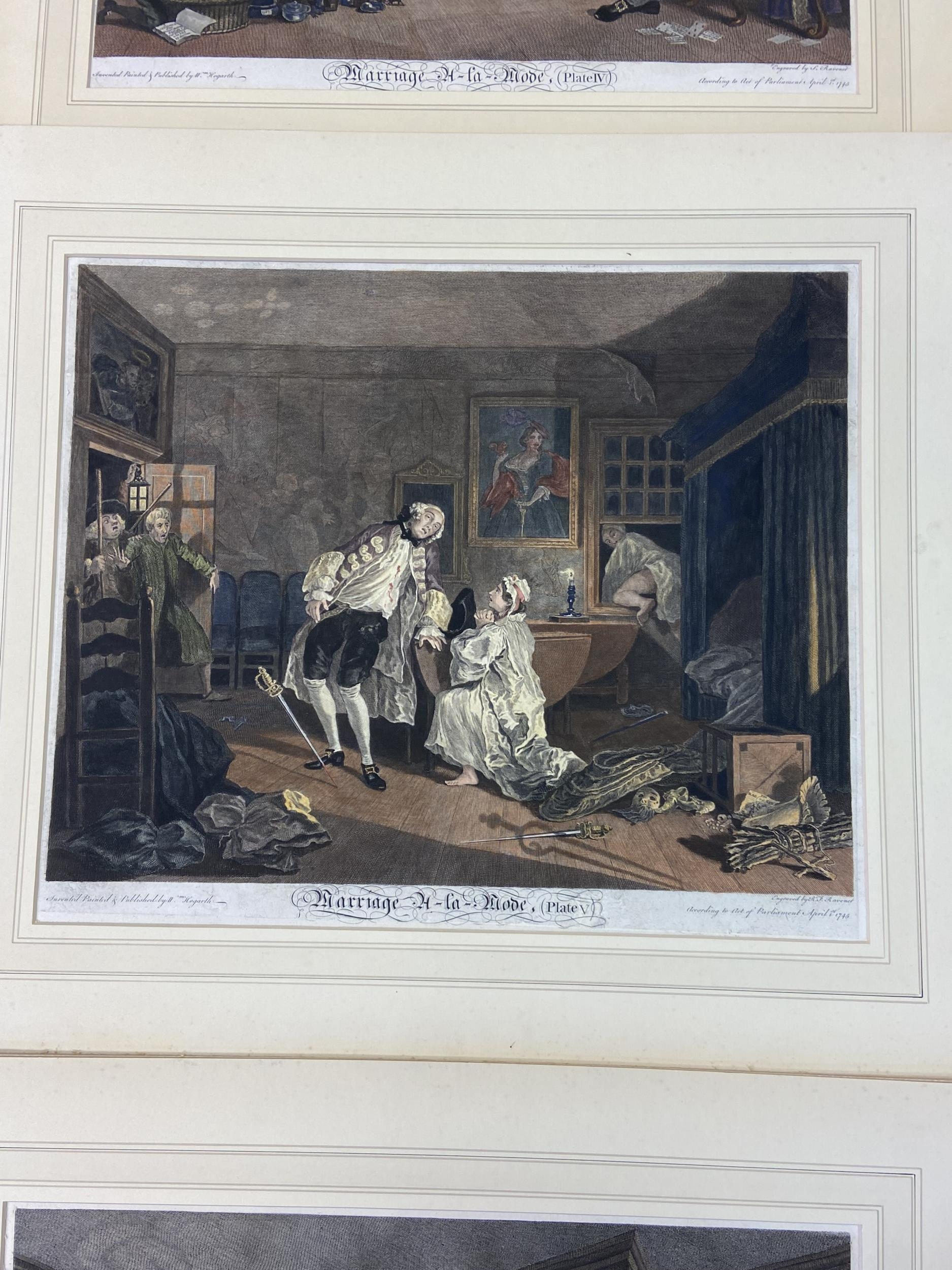 A Set of 6 18th century coloured engravings titled 'Marriage A- LA Mode' Painted, engraved and - Image 6 of 10