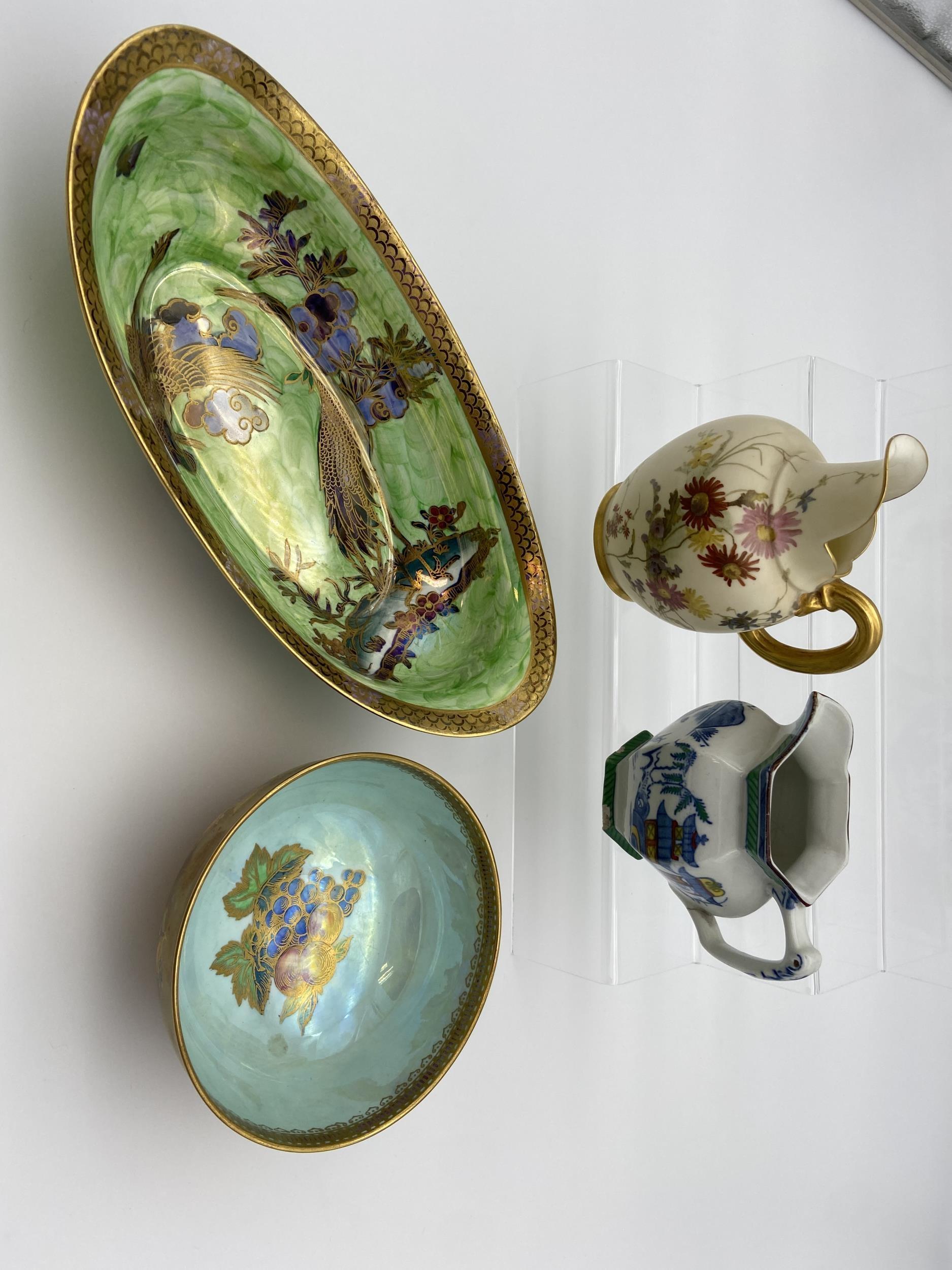 Maling crane design bowl, Wedgwood lustre fruit pattern bowl, Royal Worcester water jug [as found] &