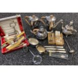 A Selection of silver plated and E.P. Wares to include arts and crafts coffee pot and tea pot.